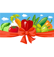horizontal design with vegetable bow and blue sky vector image vector image