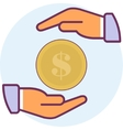 Icon two arms and coins vector image
