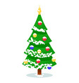 isolated decorated fir tree on white background vector image vector image