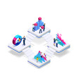 Isometric concept of business teams meeting