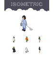 isometric human set of investor housemaid doctor vector image vector image