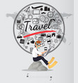 Journey with travel icons set on world map
