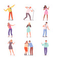 karaoke singers people have fun in music club vector image
