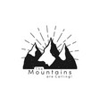 mountain logo with snow ice tops and retro sun vector image vector image