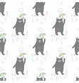 pattern with bear and umbrella vector image vector image