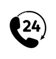 phone 24 hours icon in flat style vector image vector image