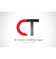red and black ct c t letter logo design creative vector image
