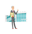 senior caucasian businessman holding a certificate vector image vector image