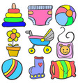 set of baby element set various doodles vector image vector image