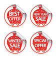 set of new year holiday stickers sale vector image