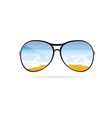 sunglass with beach art on a color vector image vector image