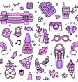 teenager girl favorite things pink pattern doodle vector image