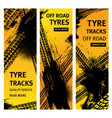 tire prints car offroad tyres with grunge marks vector image