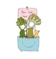 Two fairies succulent cat and pot vector image vector image
