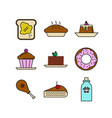 various food menu thin line icon set vector image