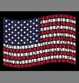 waving american flag stylized composition of vector image