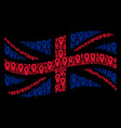waving great britain flag mosaic of coffin items vector image vector image