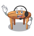 with headphone wooden table isolated on the mascot vector image