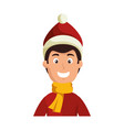 young man with winter clothes vector image