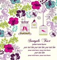 floral invitation card with birdcage vector image