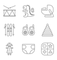 Baby thin line related icon set vector image