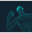 3D Model of Man Polygonal Design Geometric Grid vector image