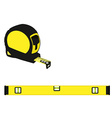 Yellow level construction and tape measure vector image