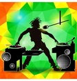 Silhouette of a DJ at a party on a color vector image