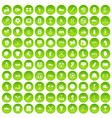 100 athlete icons set green circle vector image vector image