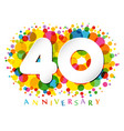 40 years anniversary paper colorful logo vector image vector image