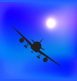 air plane silhouette in blue sky vector image