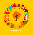 autumn vibes postcard vector image vector image