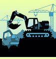 background of excavator loader vector image