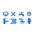bathroom plumbing equipment isolated icons set vector image