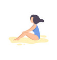 beautiful brunette girl in blue swimsuit relaxing vector image vector image