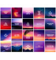 big set 20 square blurred nature purple pink vector image vector image