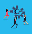 business people with puzzle pieces in shape gear vector image vector image