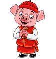 cartoon happy little pig with traditional chinese vector image vector image