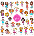 cartoon kid girls characters big set vector image vector image