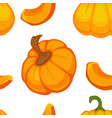 cartoon pumpkin seamless pattern on white vector image vector image