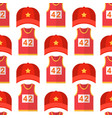 cartoon red baseball hats seamless pattern vector image
