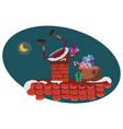 cartoon santa claus climbs into the chimney vector image vector image