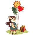 cat greeting card vector image