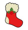 christmas sock decorative icon vector image vector image