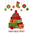colorful sketch of new year presents and gifts in vector image
