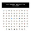 control and navigation icon set with filled vector image vector image