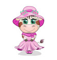 Cute cartoon cow girl with beautiful eyes in a