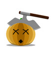 dead halloween pumpkin with an axe in its head vector image