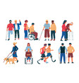 disabled peoples with friends men and women vector image vector image