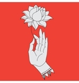 Elegant hand drawn Buddha hand with flower vector image
